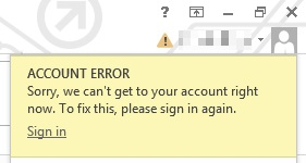 Account error Message - Word