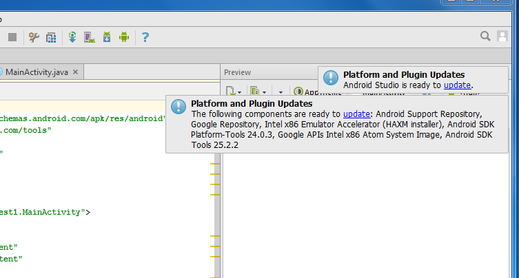 2812  What should I do if Android Studio is prompting me to update
