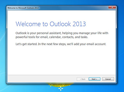 Outlook welcome wizard