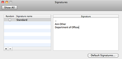 Outlook 2011 signature pane