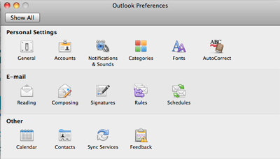 Outlook 2011 Preferences Window
