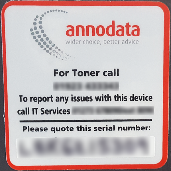 Annodata serial number on red and silver sticker