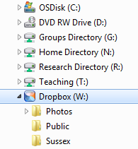 Dropbox displays just like another drive when connected through WebDrive