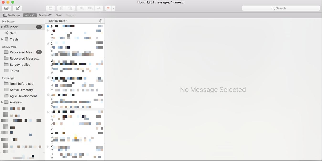 Synced inbox