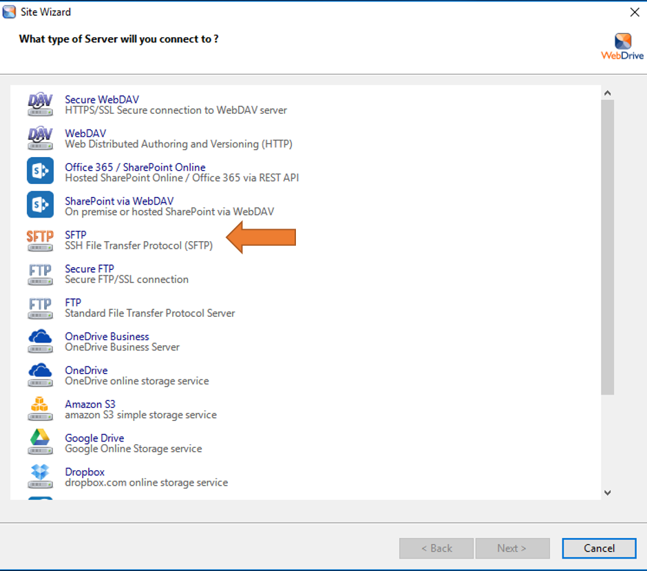 SFTP Screenshot