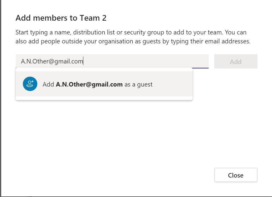 Add External to a Team