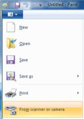 File menu in Paint showing the From scanner or camera option