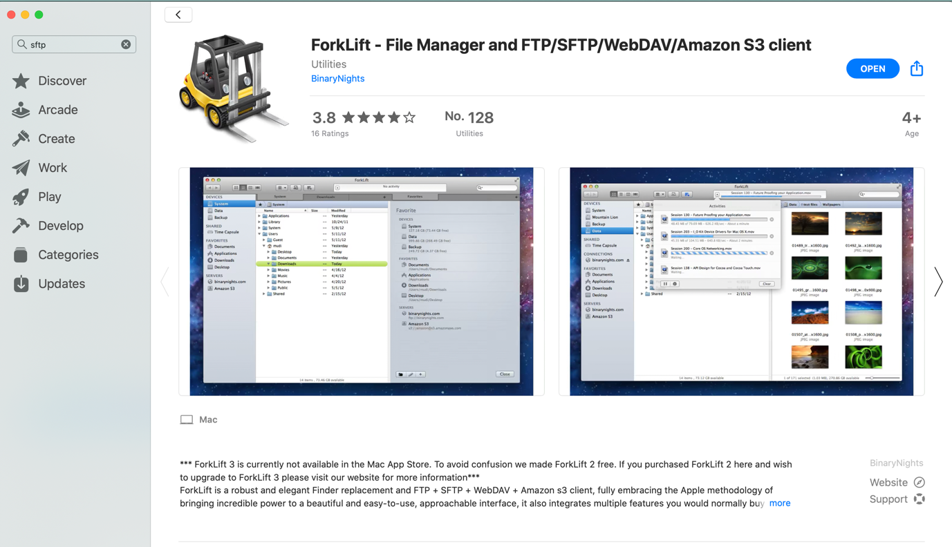 The Forklift SFTP client in the App Store