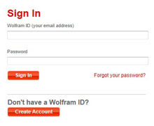 sign in page on the Wolfram website