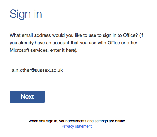 Office 365 signin screen