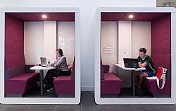 Students revising in study pods in the Jubilee building