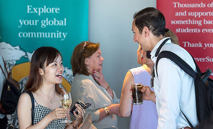 A Sussex graduate attends an alumni networking event