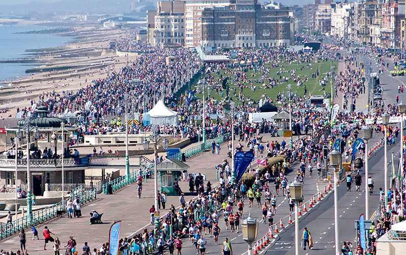 Runners going past Hove Lawns