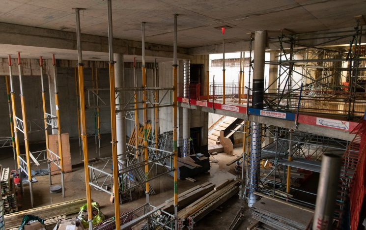 Inside of the construction of the new student centre