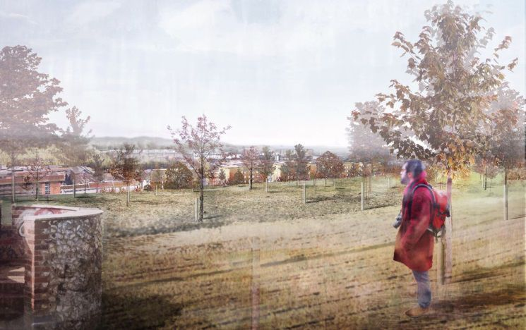 An artists impression of the proposed West Slope development from the top of a hill next to ruins of an old observatory