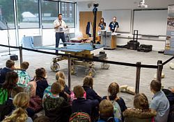 School pupils enjoy a demonstration of the Mars Rover on Primary Space Day