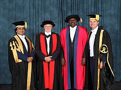 Prof Ernest Aryeetey former Vice-Chancellor of the University of Ghana following the award of his honorary degree