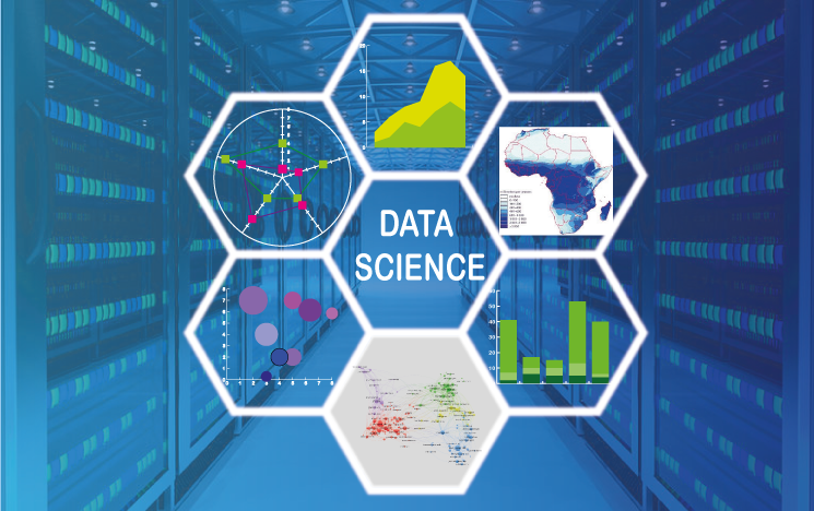 Abstract collage depicting data science concepts
