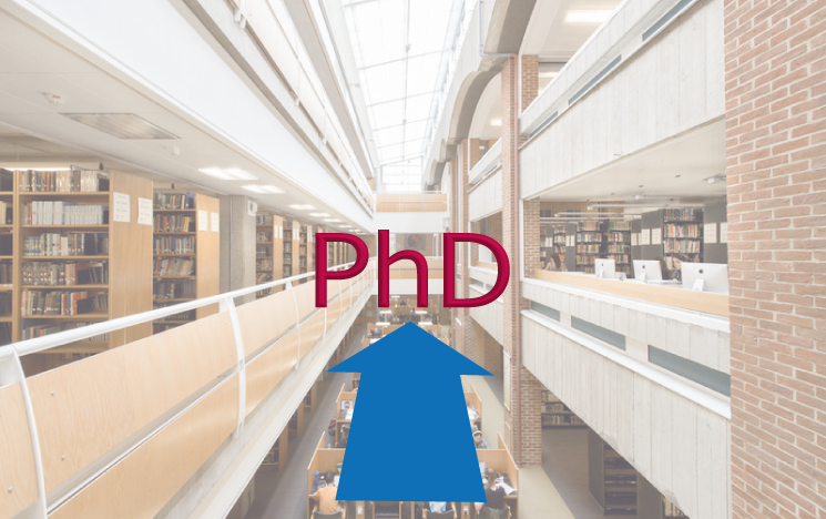 PhD translucent library background