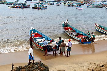 The fishing harbor at Vizhinjam village in Thiruvananthapuram, where fishers from the southern parts of the district launch and land their boats during the monsoon season, when the sea is often rough