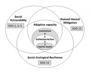 The three appraoches to enhance adaptive capacity and the relationship between collective action faciliated by institutions and access to livelihood capitals  (Adapted from Berman et al. (2012), and Engle (2011)