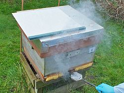 Sublimation of OA treatment on honey bee hive