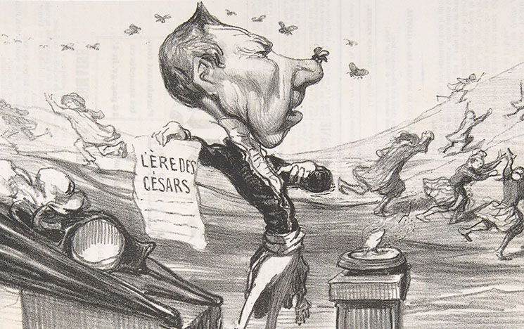 "Caricature of Auguste Romieu and his ""Era of the Caesars"" 1850"
