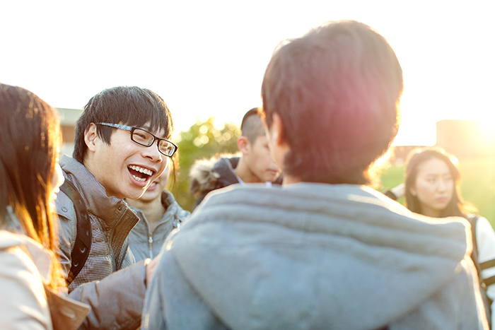 International students socialise on campus at the University of Sussex