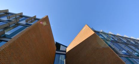 Looking up beyond the entrance of the Jubilee Building, home of the University of Sussex Business School on the Sussex campus