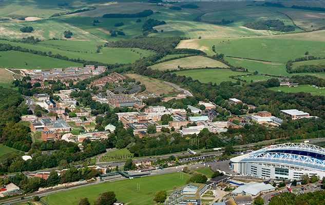 Aerial view of the University of Sussex campus