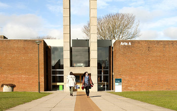 The entrance to Arts A on the University of Sussex campus