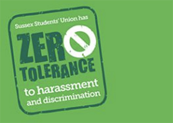 A poster which read 'Zero tolerance to harassment and discrimination'