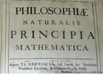 The front cover of Philosophiae Naturails Principia Mathematica by Sir Isaac Newton