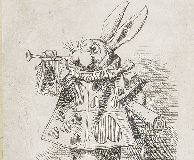 An engraving of the white rabbit from the novel Alice in Wonderland