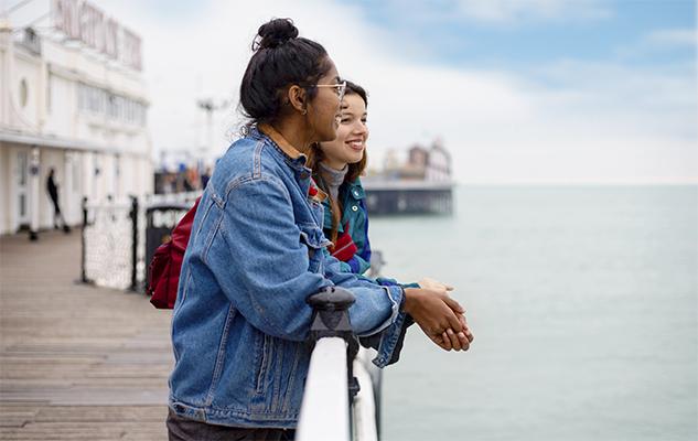 Students on Brighton's Palace Pier