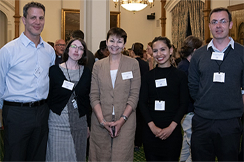 Dr Caroline Lucas MP (centre) with representatives from the University's pro-bono law clinics (L-R: Dr Amir Paz-Fuchs, Dr Bonnie Holligan, student Maria Burguillos Rivas and Dr Will McCready)