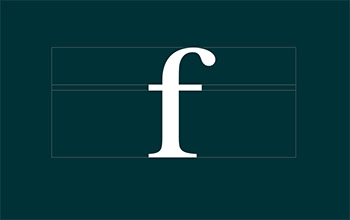 The letter F to signify a typeface