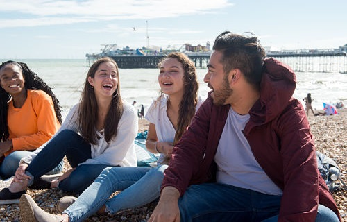 Sussex Summer School students on Brighton beach