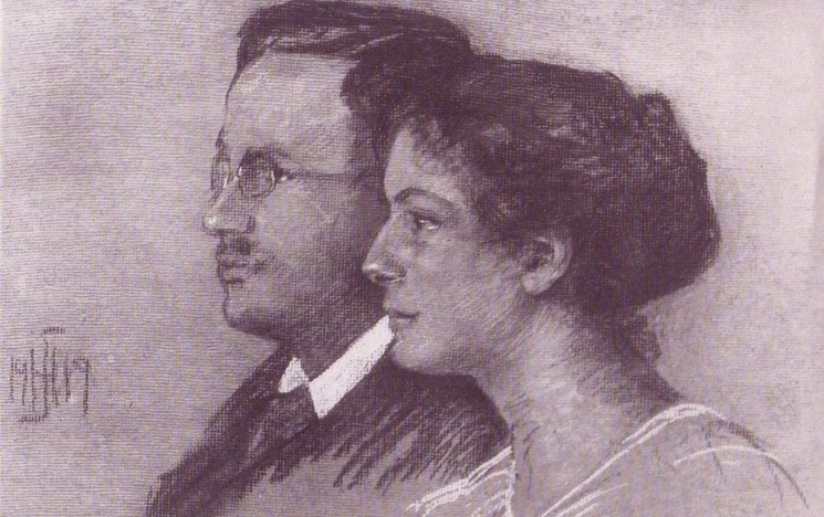 Sketch of Julie and Victor Ehrenberg, From the Ehrenberg family collection, German-Jewish Archive University of Sussex