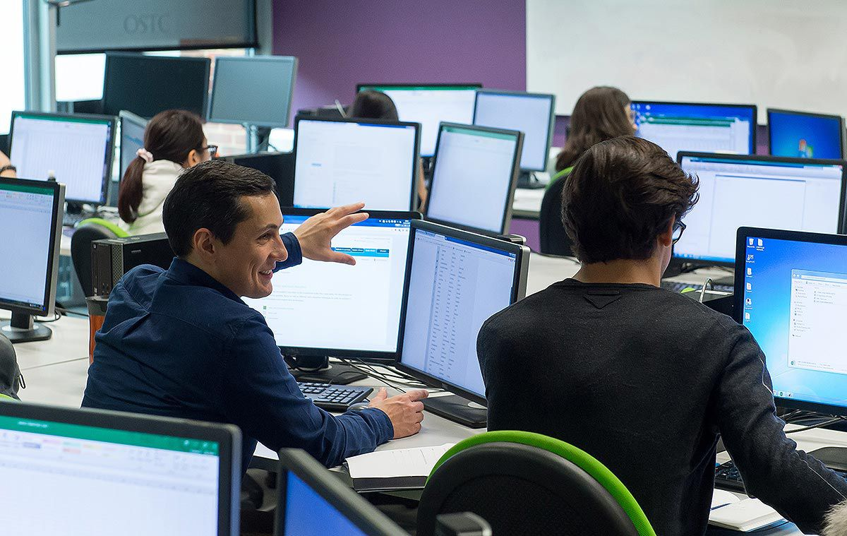 Students in one of the computer clusters in the Jubilee building