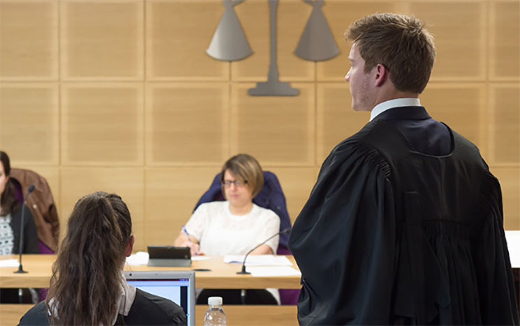 Students in a mock courtroom at the University of Sussex